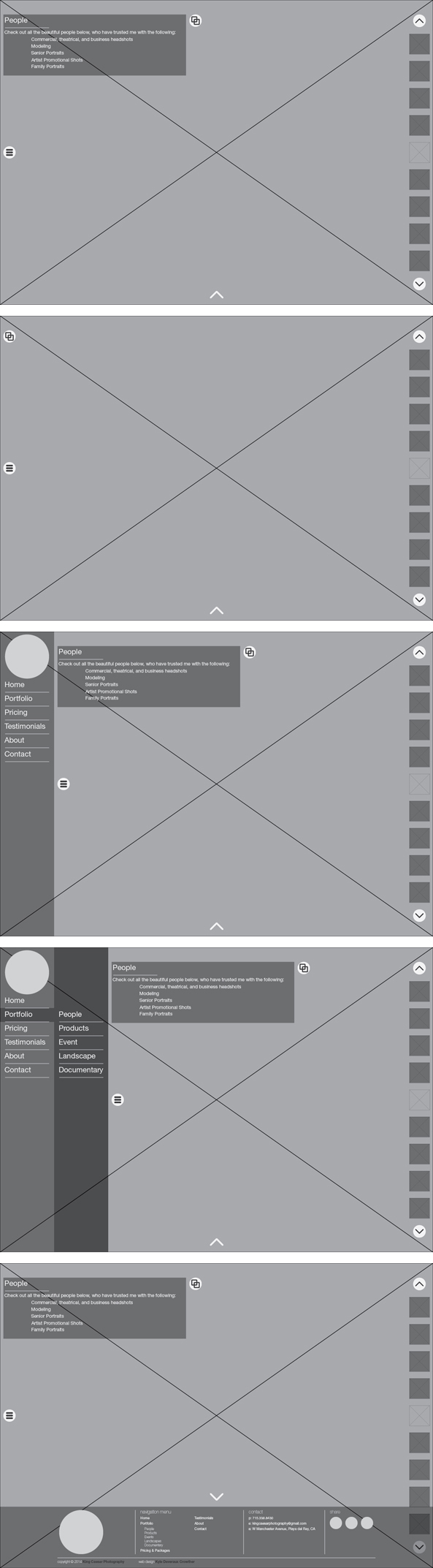 King Caesar Photography Wireframe Mock-ups