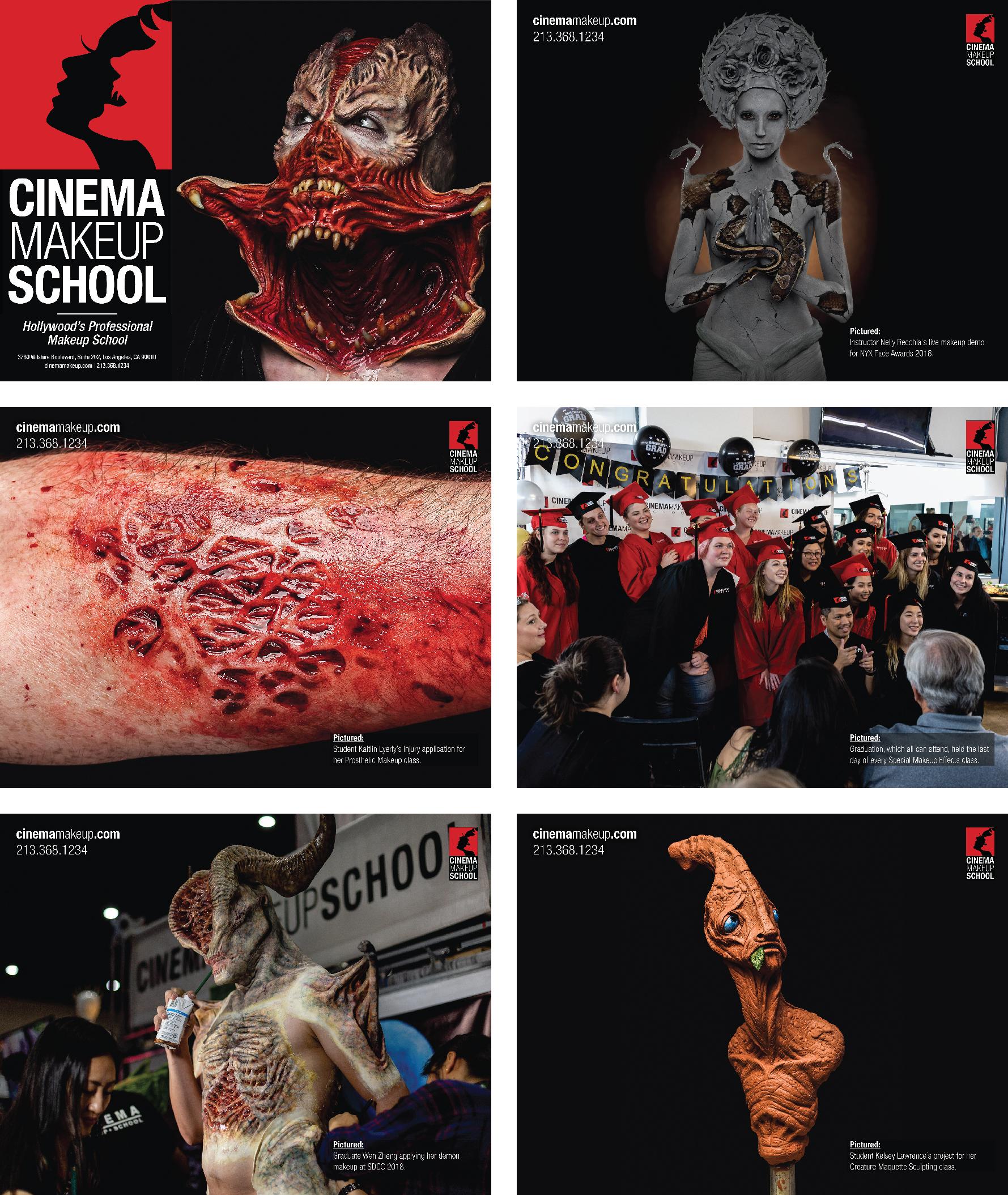 Cinema Makeup School Calendar Sample Images